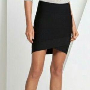 BCBG black cross over bandage skirt L